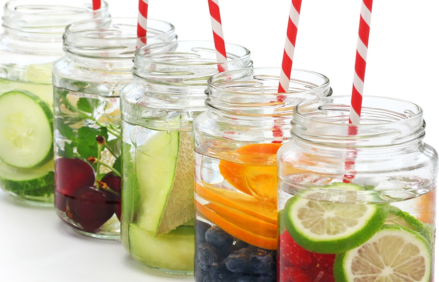 Water infused with different fruits